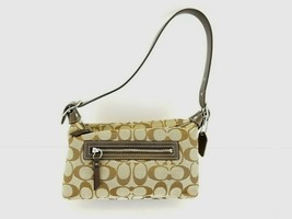 COACH Brown Signature C Jacquard Fabric Cosmetic Make-up Mini Bag - $28.21