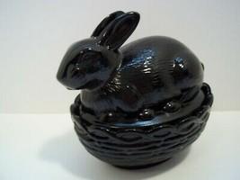Mosser Glass Jet Black Easter Bunny Rabbit On Nest Basket Candy Dish Box New! - $24.20