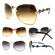 Womens Celebrity Metal Frame Butterfly Oversized Designer Fashion Sungla... - $7.95