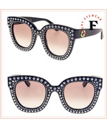 GUCCI HOLLYWOOD FOREVER 0116 Black Pink Crystal STAR Stud Sunglasses GG0116S - $601.43