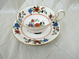 Aynsley Teacup & Saucer Blue Red Flowers England Bone China B110 1920s 1930s - $33.68