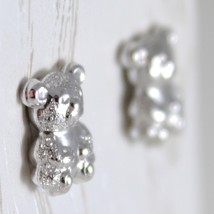 WHITE GOLD EARRINGS 750 18K FOR GIRL, BEARS SATIN, LENGTH 1.0 CM image 2