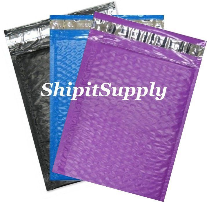 3-300 #0 6x10 ( Black Purple & Blue ) Color Poly Bubble Mailers Fast Shipping