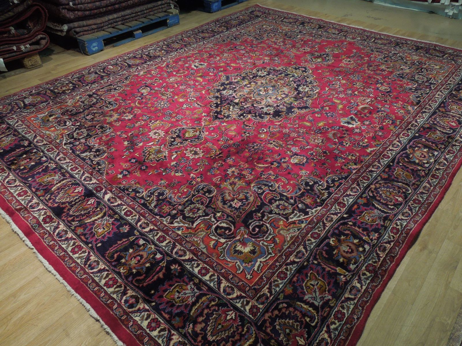 Red Wool Rug 10' x 12' Scarlet Vivid Original Traditional Persian Handmade Rug image 5