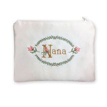 Nana Embroidered Satin Zipper Pouch Organizer, Evening Clutch, or Jewelr... - $35.00