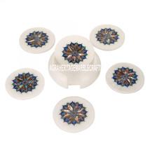 White Marble Coffee Coaster Set Semi Precious Gemstone Art Marquetry Home Decor - $346.17