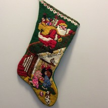 Bucilla Santa On Banister 60392 Christmas Needlepoint Stocking Finished - £25.73 GBP