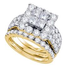 14k Yellow Gold Princess Diamond Bridal Wedding Engagement Ring Set 4.00 Ctw - $4,989.42