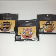 Halloween Pumpkin Set of 3 Funny Faces Foam Bucket Kit Craft Decor Witch... - $375,99 MXN