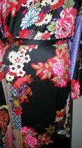 NWT New Designer Natori Wrap Robe Womens S Silky Satin Flowers Blue Red White image 11