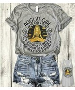 August Girl The Soul Of A Gypsy The Fire Of A Lioness Tshirt Women Sport... - $18.76