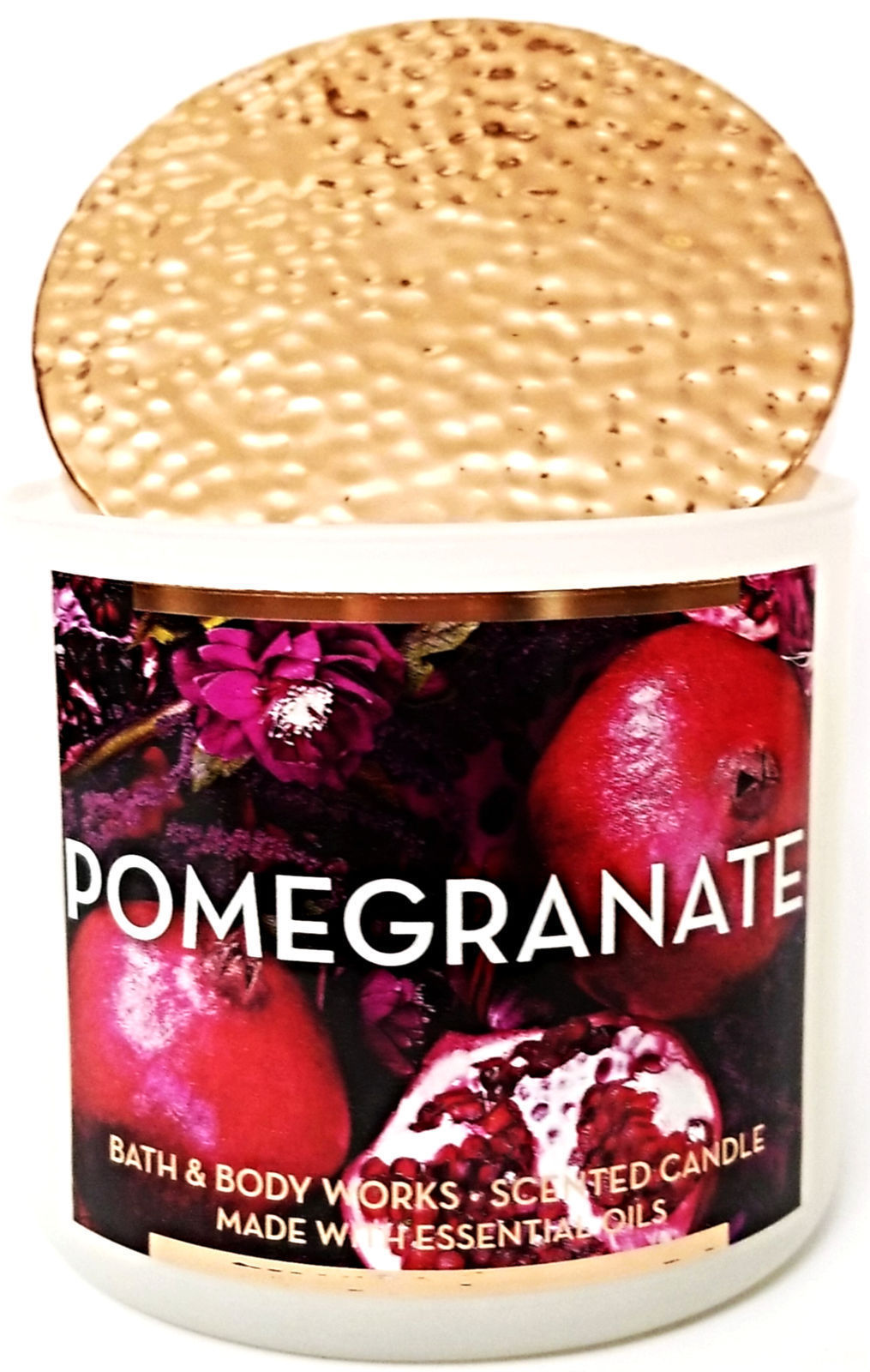 Bath & Body Works Pomegranate Large 3 Wick Candle Cooper Lid 14.5 oz Limited Ed image 3