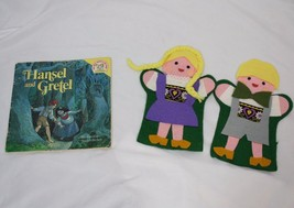 2 handmade Hansel and Gretel felt puppets plus paperback book - $18.69