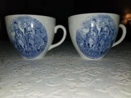 2 Alfred Meakin Blue & White Porcelain Cups Depicting Lee & Jackson Meet... - $16.82