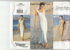 Vogue 1588 Misses Dress Close Fit Pullover Sewing Pattern 6-10 Calvin Klein - $12.86
