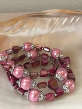 Estate Silvertone End Capped Pearly Pink Bead w Dyed Shell Nuggets Bead ... - $12.19