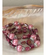 Estate Silvertone End Capped Pearly Pink Bead w Dyed Shell Nuggets Bead Stretch - $12.19