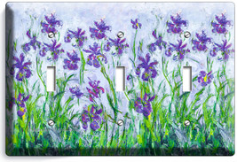LILAC IRISES CLAUDE MONET PAINTING 3 gang LIGHT SWITCH WALL PLATE ROOM A... - $18.99
