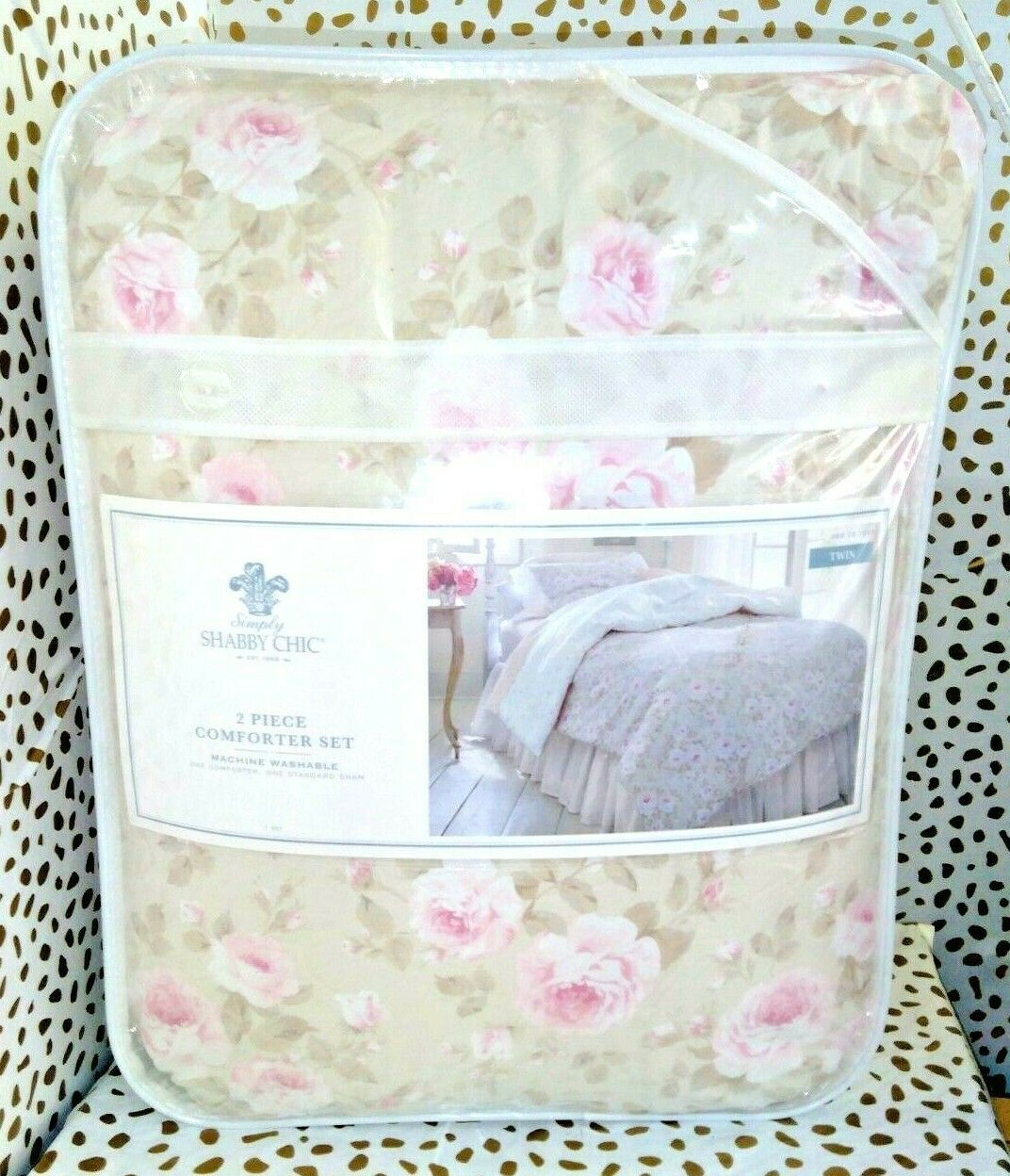 Simply Shabby Chic Duchess Blossom Twin COMFORTER Set Pink Tan  Cottage Floral