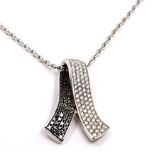 18K WHITE GOLD NECKLACE HUG BOW PENDANT WHITE BLACK DIAMONDS, DIAMOND CUT CHAIN image 3