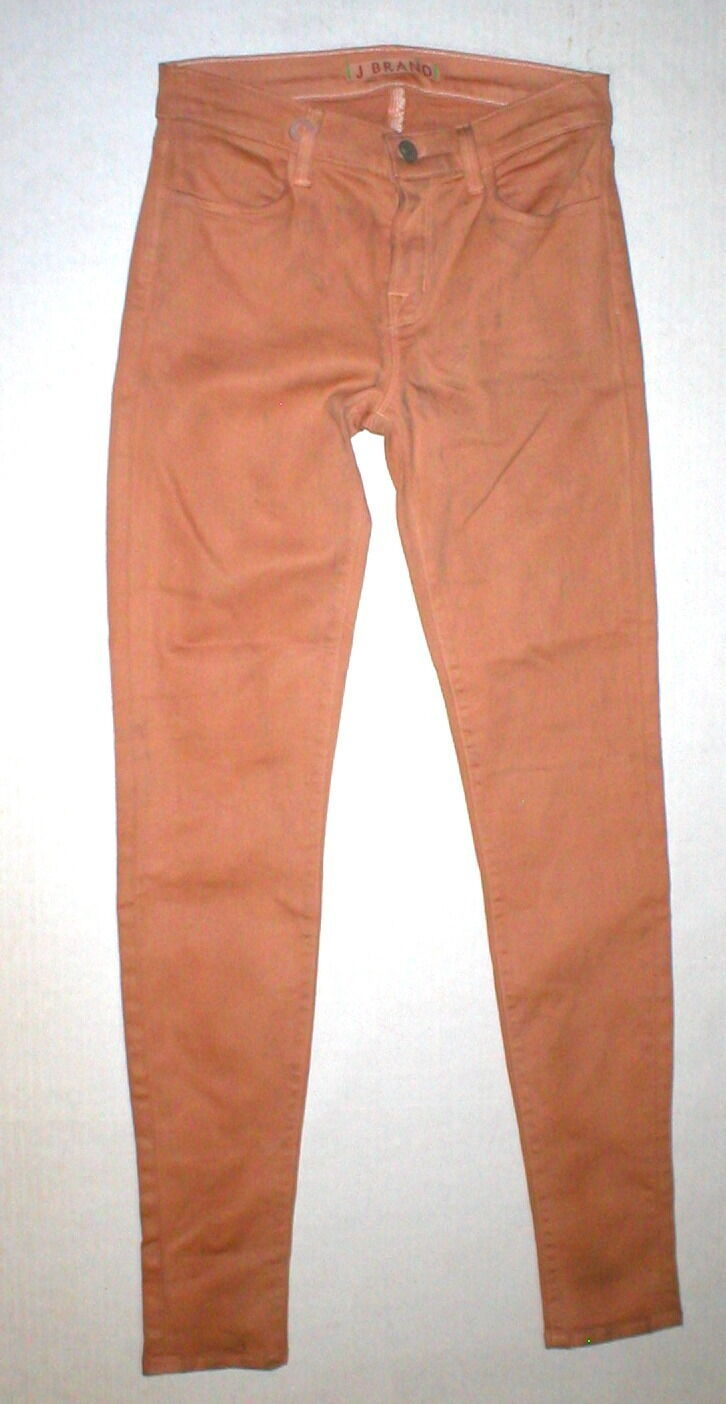 New J Brand Jeans Skinny Womens Coated Peach Leather Mid 26 Tigers Eye Pants USA