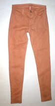 New J Brand Jeans Skinny Womens Coated Peach Leather Mid 26 Tigers Eye Pants USA image 1