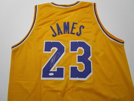 LEBRON JAMES / AUTOGRAPHED LOS ANGELES LAKERS CUSTOM BASKETBALL JERSEY / COA image 1