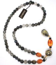 18K YELLOW GOLD LONG NECKLACE AMBER LABRADORITE QUARTZ POTTERY HAND PAINTED STAR image 3