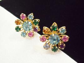 SPARKLING Multi PASTEL Rhinestone FLOWER Screw Back Earrings Vintage Career - $14.84