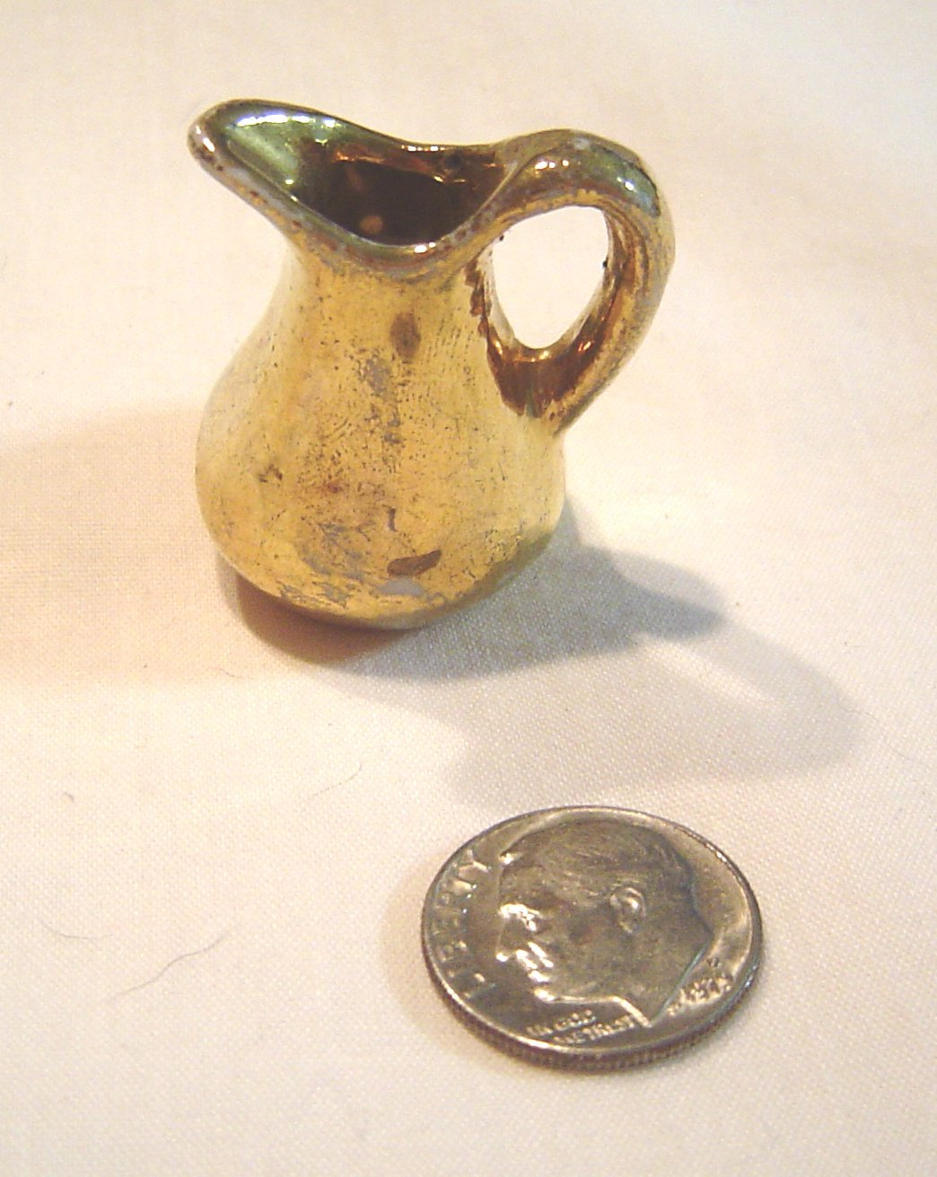 Primary image for Miniature Ceramic Gold Painted Pitcher  Vintage