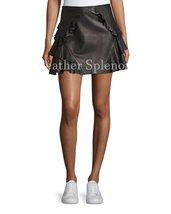 Ruffled Women Mini Leather Skirt