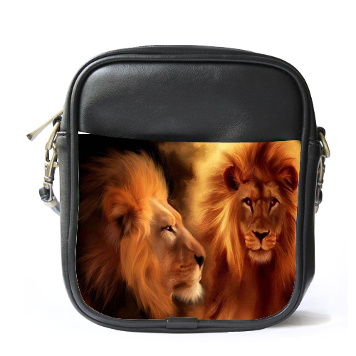 Sb1695 sling bag leather shoulder bag lion face