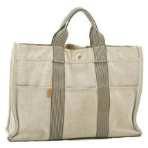 HERMES Fourre Tout MM Tote Bag Light Gray Cotton Auth 9019 - $130.00
