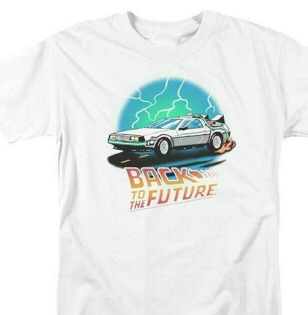 Back To Future Drawing T-shirt Delorean 1980's movie retro cotton tee UNI127