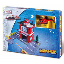 Maisto Kids Fresh Metal Fire Station Build & Play Set w/ Helicopter - $17.41