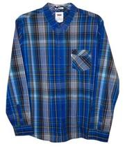 Levis Mens Long Sleeve Blue Plaid  Button Down Collar Shirt XL - $27.23