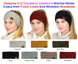 NEW! CC Head Band Colorful Confetti Cable Knit FUZZY LINED Ear Warmer He... - $11.79