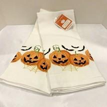 Halloween Kitchen Towels BATS JACK O LANTERN 2 set Spooky Holiday Home D... - £12.35 GBP