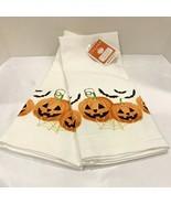 Halloween Kitchen Towels BATS JACK O LANTERN 2 set Spooky Holiday Home D... - $16.99