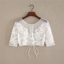 White Floral Tulle Lace Tops Bridesmaids Crop Lace Shirts- 3/4 sleeve,white,plus