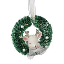 Department 56 Snowbabies Dream Collection Reindeer Wreath Hanging Ornament, 3.75