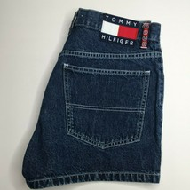 Tommy Girl Jeans shorts size 11 juniors Hilfiger Spell Out Large Flag MOM 90's - $33.87