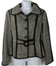 Etcetera Blazer Jacket Size 8 Black Grey Herringbone Women - $49.49