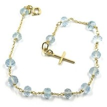 18K YELLOW GOLD ROSARY BRACELET, OVAL FACETED AQUAMARINE, MINI TUBE CROSS - $359.00