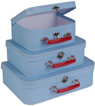 SLPR Paperboard Suitcases (Set Of 3, Retro) | Light Blue Boxes For Birth... - $54.70