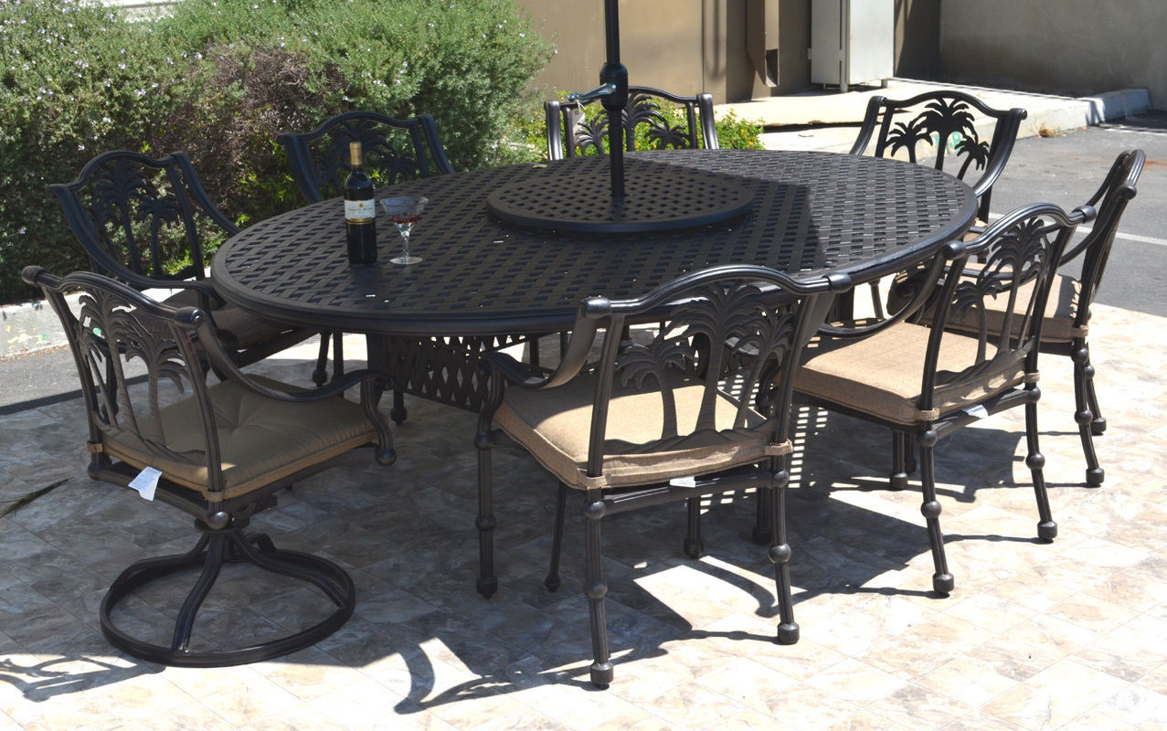"Patio dining set 10 piece cast aluminum Nassau table 70 x 100"" Palm tree chairs"