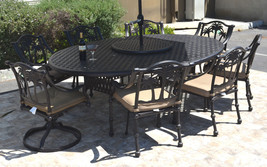 "Patio dining set 10 piece cast aluminum Nassau table 70 x 100"" Palm tree chairs image 1"