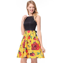 AOVEI Yellow Floral Print Black Vest Back Bow Hit Color Pleated Beach Dress - $24.99