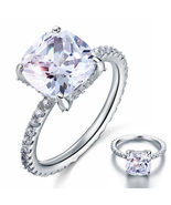 Solid 925 Sterling Silver Wedding Engagement Ring 5 Carat Cushion Cut Je... - $99.99+