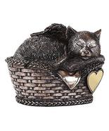 Windhaven Urns Pet Memorial Angel Cat Sleeping in Basket Cremation Urn B... - $48.50
